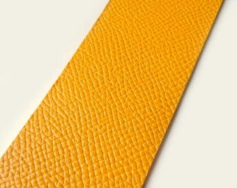 Yellow leather band, width: 3.9 cm, sold per 15 cm