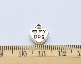 10 Love My Dog Charms - Dog Charms - Antique Silver - ef0178