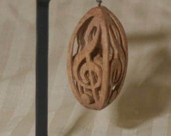 """Hand carved wood, """"G"""" clef, 3 dimensional, in walnut, oak, maple"""