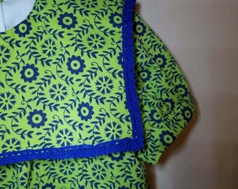 Toddler dress-Size 3T-flowered-lime green navy-India print-crochet lace-100% cotton-ready to ship