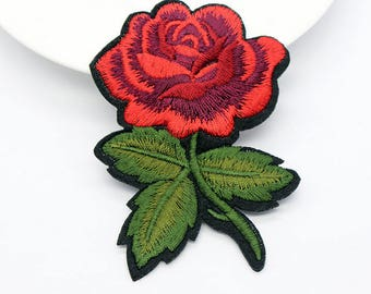 Red Rose Appliques patches in fusible iron-on or sew fabric