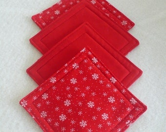 Quilted Coasters for Valentine's Day, Hostess Gift, Housewarming Gift, Friend, Coworker - Red and White Snowflakes (set of 4)