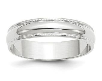 New Solid 14k White Gold Milgrain 5mm Wedding Band Sizes from 4 - 14. Solid Stamped 14k White Gold, Made in the U.S.A.