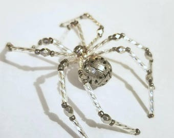 Glass beaded spider figurine  - silver and metallic
