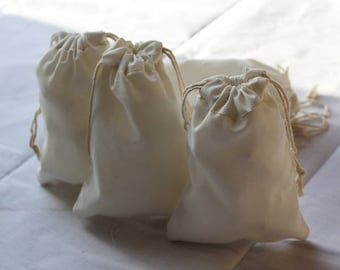"12""x18"" Cotton Canvas Double Drawstring Muslin Bags-(Natural color)"