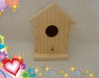 small blank wooden Bird House raw size 10.5 cm