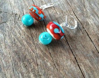 Short and light earrings, Lampwork, handmade beads.