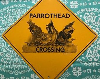 Vintage Parrothead Crossing Jimmy Buffett Sign 12 x 12