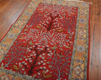 Vintage Persian Ghom Rug, 4'3''x6'9'', Tree of life, Red/Gold, All wool pile