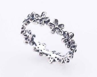 Promise flower ring, Sterling silver Promise ring for her, floral ring, fall ring, sterling silver ring