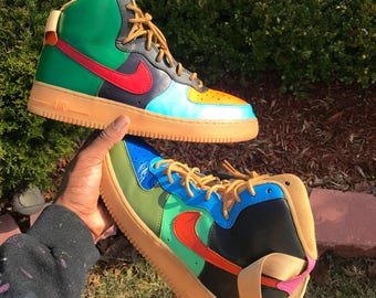 Customized Wheat Air Force 1 High Top Multi-Color Custom Af1s Highs