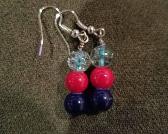 Large blue, red and semi clear glass bead dangle