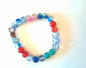 Bracelet made of glass beads with clear crystals