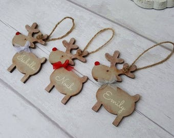 Personalised Christmas Decoration/ Reindeer/ Rustic Tree Ornament - FREE SHIPPING