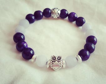 Amethyst glass beads with owl charm bead