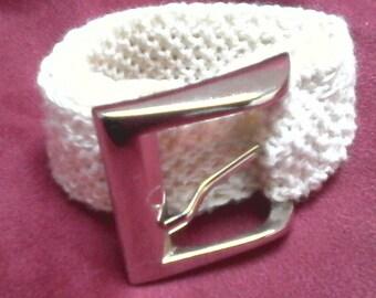 unbleached natural 100% cotton belt buckle silver