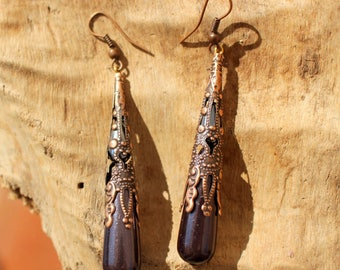 LONG DROPS ELVEN COPPER HEMATITE BEADS EARRINGS