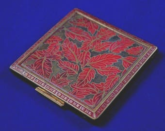 Vintage Compact Case // Rex 5th Fifth Ave // Make Up // Red Leaf Leaves Flower // 1940s 1950s // Brass Gold Tone // Mirror // FREE SHIPPING