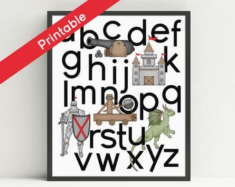 Knight Alphabet Poster, Printable, Nursery Art, Fairy Tale Wall Art,  ABC,  Kids Medieval Decor, Dragon, Castle, Cannon,Instant download