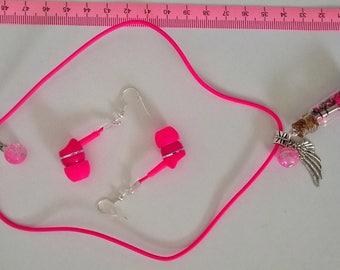 """""""Earphone"""" and """"Jack jack"""" pendant earrings neon pink"""