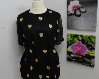 Blouse, tunic in black with hearts in glitter color gold
