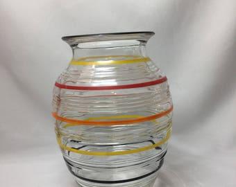 Anchor Hocking Banded Ring Vase colored stripes
