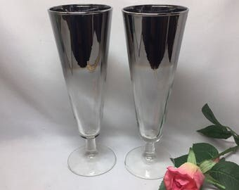 Pilsner Glasses Silver Ombre Fade Queen's Lusterware Dorothy Thorpe Style - set of two