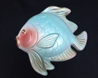 Miller Studios Turquoise Pink Chalkware Fish Wall Plaque
