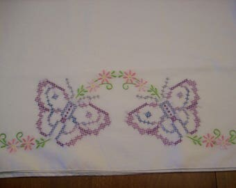 Vintage Butterfly Cross Stitched Pillowcases