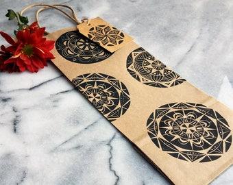 Wine gift bag | Handmade mandala print, decorated wine tote, wine bag, rustic gift bag, hostess gift, housewarming gift