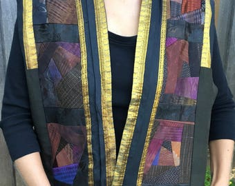 Vintage Vest, BOHO Wearable Art  Hand painted Silk Patchwork By Teresa Eaton Made in USA