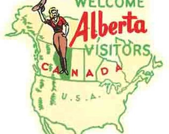 Vintage Style Alberta  1950's    Canada  Travel Decal sticker