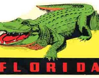 Vintage Style Florida Alligator  Travel Decal sticker