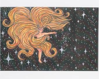 Tigress Floating Through Space&Time Art Print