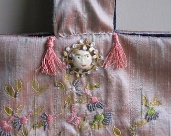 Silk jewelry bag full moon