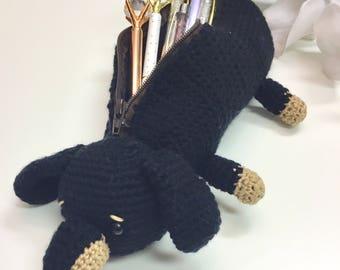 Dachshund crochet pencil case