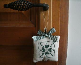 small door cushion hearts cross stitch