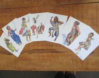 set of 7 illustrated postcards