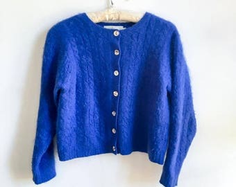 Vintage || Sweater || Blue || Knitted || Cardigan || Stefano Benuto || Size L
