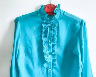 60s Vintage || Blouse || Turquoise || Ruffle Frill Collar || Sheer || Button Up Blouse || Ruffle Sleeves || Size M