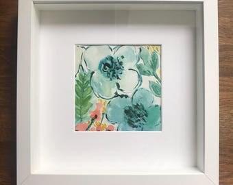 Original framed watercolour art floral