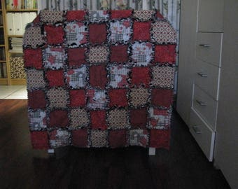 Burned and white RAG QUILT orange baby blanket