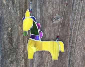 Stained glass horse, Stained glass suncatchers, Stained glass gifts, Stained glass art, Housewarming gift, Glass art