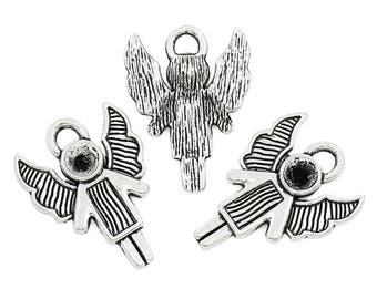 3 charm big Angel crimp in antique silver