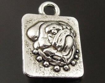 Charm Locket (x 4) silver Bulldog head