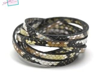 "1.2 m fancy 5 mm double leather strap ""tortoiseshell No. 5"", yellow beige"