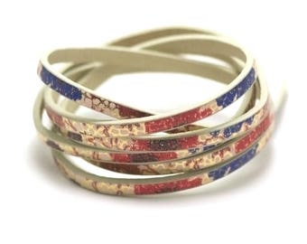"""1 m strap leather 5 x 2 mm blue red """"Garden"""""""