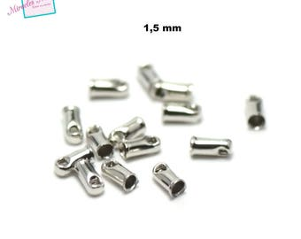 100 caps for cord 1.5 mm silver