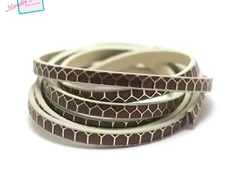 """1 m strap leather 5 x 2 mm """"honeycomb"""", Brown"""