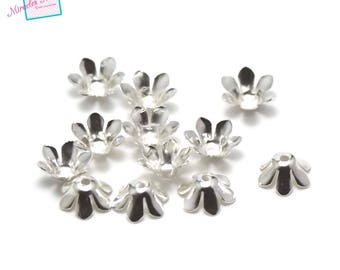 "100 cone/Cup/Cap adjustable ""flower"" 13 x 5 mm, clear"